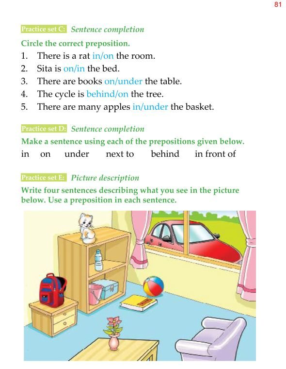 1st Grade Grammar Prepositions 5