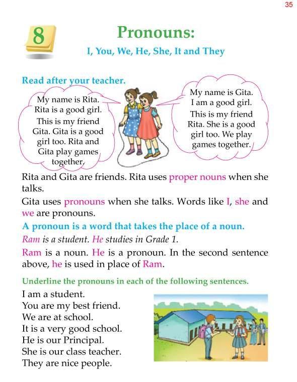 1st Grade Grammar Pronouns 1