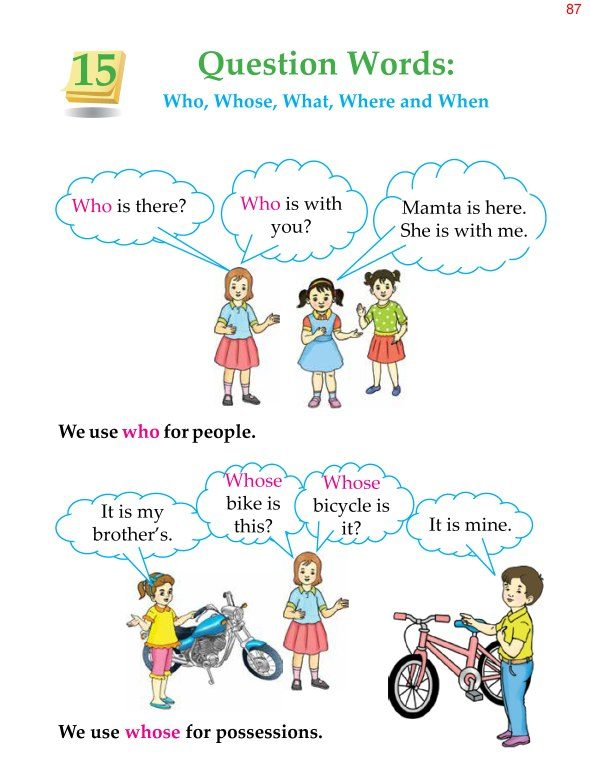 2nd Grade Grammar Question Words Who Whose What Where and When