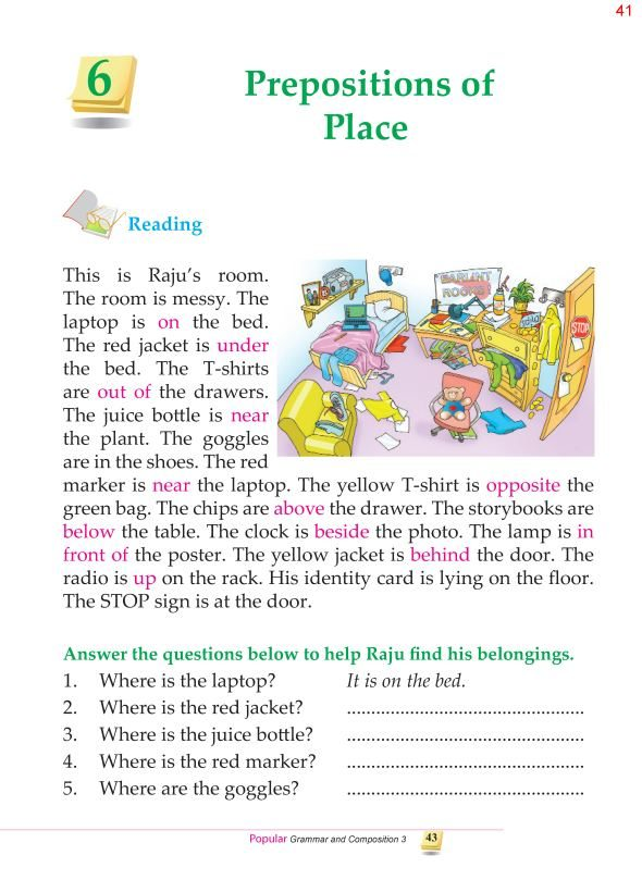 3rd Grade Grammar Prepositions of Place
