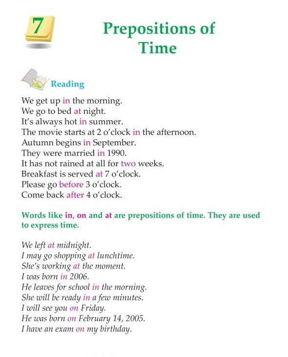 3rd Grade Grammar Prepositions of Time