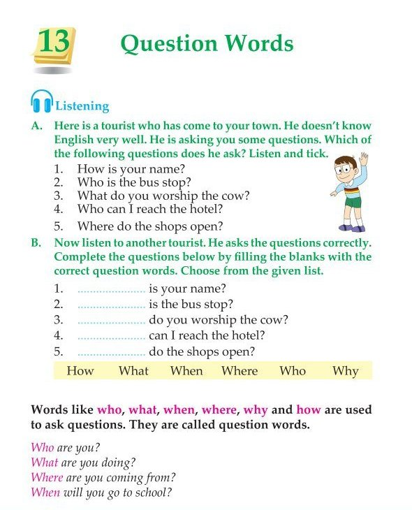 3rd Grade Grammar Question Words