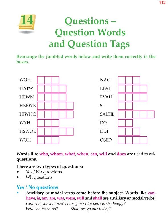 4th Grade Grammar Unit 14 Questions Question Words and Question Tags 1