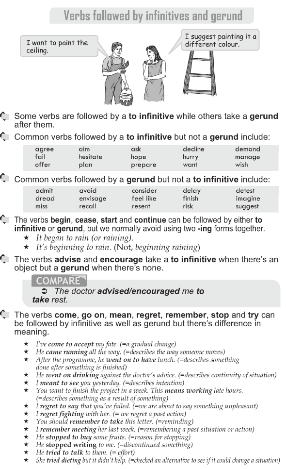 verbs followed by infinitive with or Some verbs can be followed by the infinitive or -ing form without a big change in meaning: begin, continue, hate, intend, like, love, prefer, propose, start it started to rain.