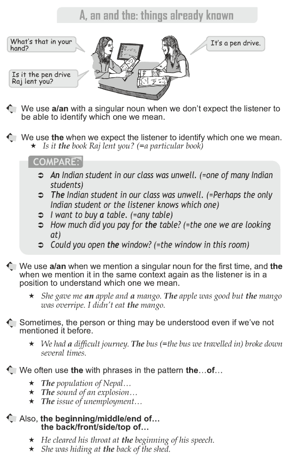 Grade 10 Grammar Lesson 28 A, an and the: things already known