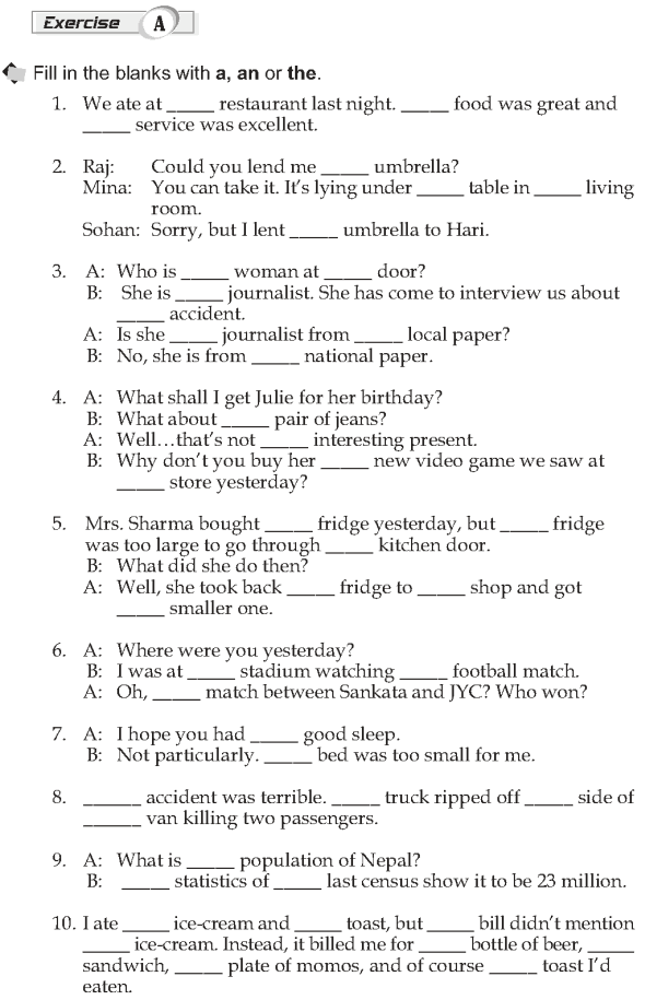 Grade 10 Grammar Lesson 28 A, an and the things already known (2)
