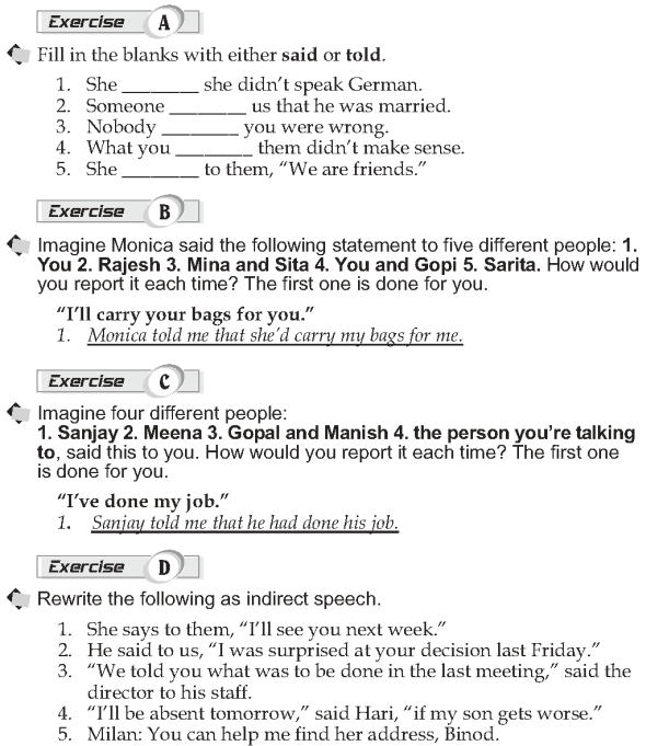 Grade 10 Grammar Lesson 35 Reporting statements (2)