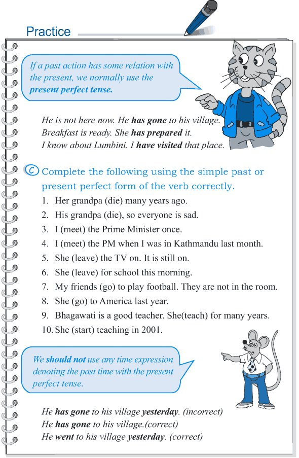 Grade 5 Grammar Lesson 9 Tense simple past and present perfect (7)