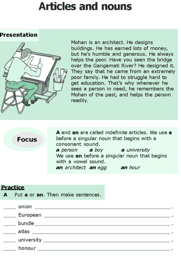 Grade 6 Grammar Lesson 6 Articles and nouns