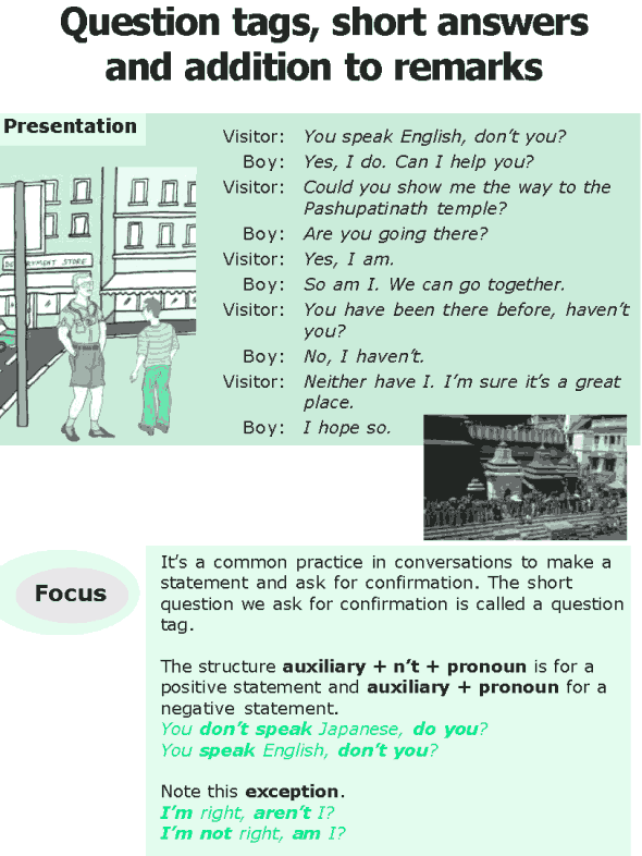 Grade 6 Grammar Lesson 9 Question tags, short answers and addition to rema