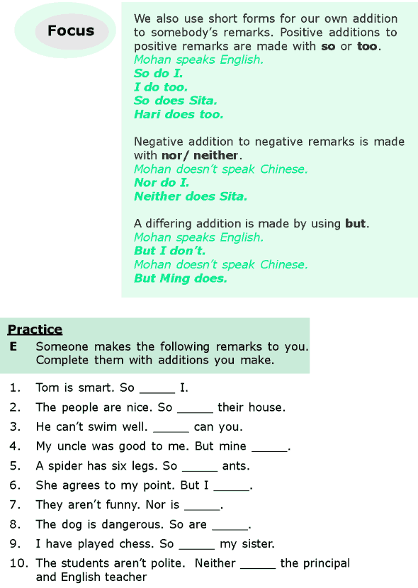 Grade 6 Grammar Lesson 9 Question tags, short answers and addition to remarks (4)