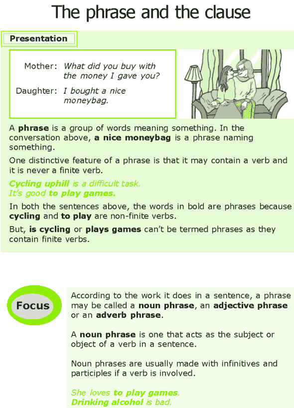 Grade 7 Grammar Lesson 11 The phrase and the clause