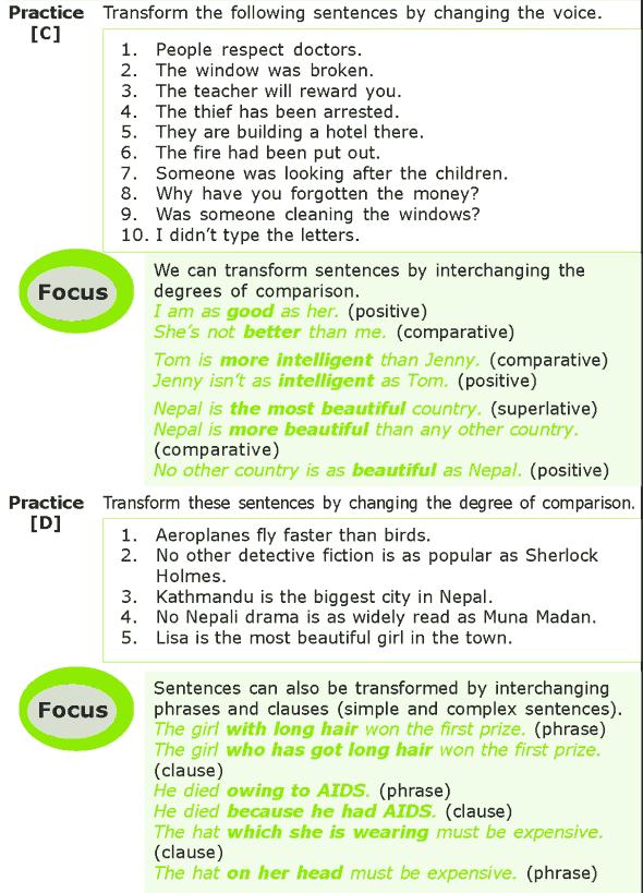 Grade 7 Grammar Lesson 13 Sentence transformation (2)