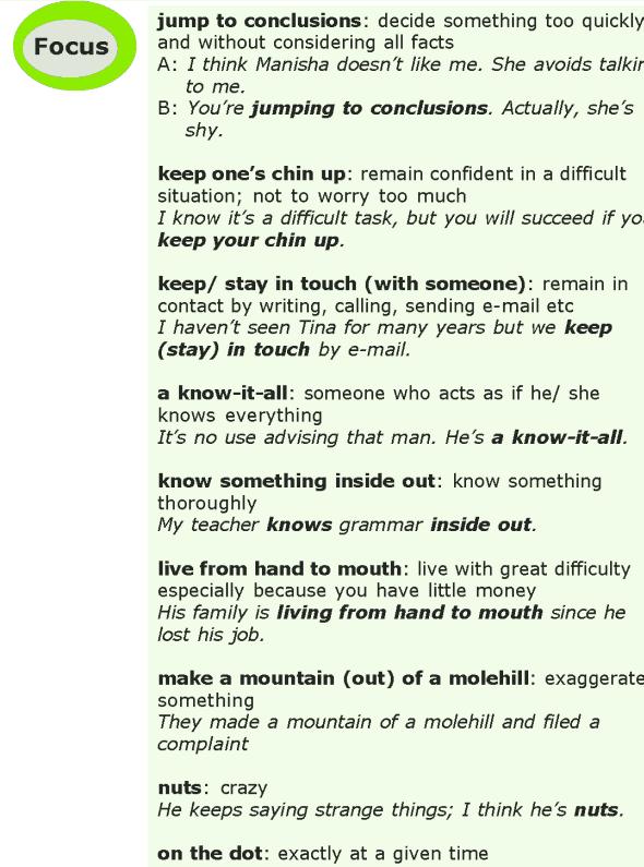 Grade 7 Grammar Lesson 16 Idioms (6)