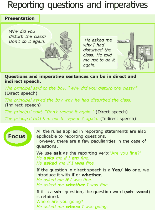 Grade 7 Grammar Lesson 8 Reporting questions and imperatives