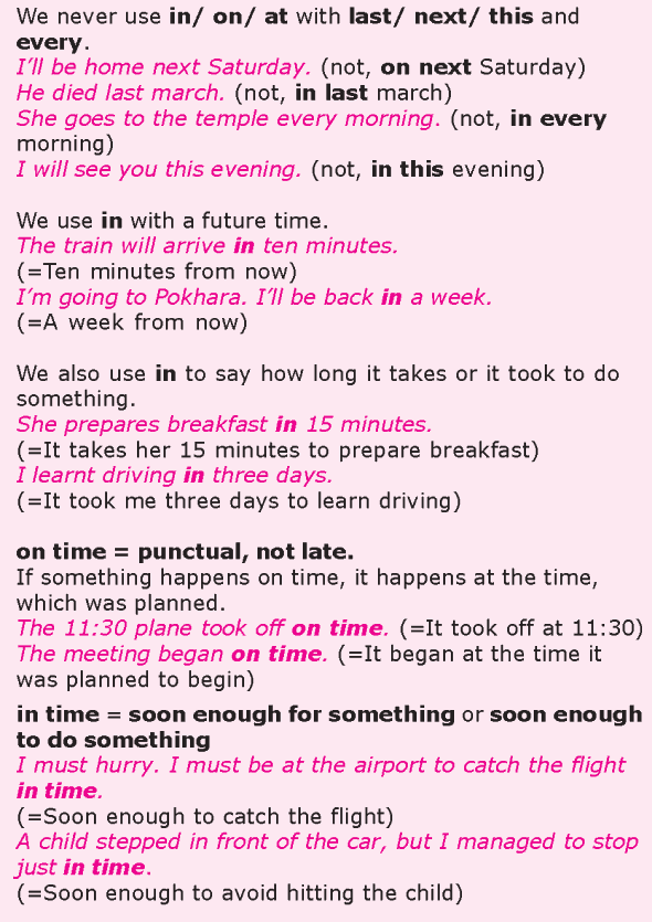 Grade 8 Grammar Lesson 27 At, on and in prepositions of time (1)