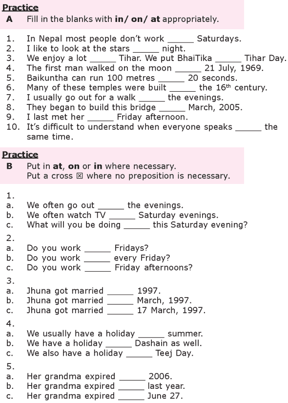 Grade 8 Grammar Lesson 27 At, on and in prepositions of time (2)