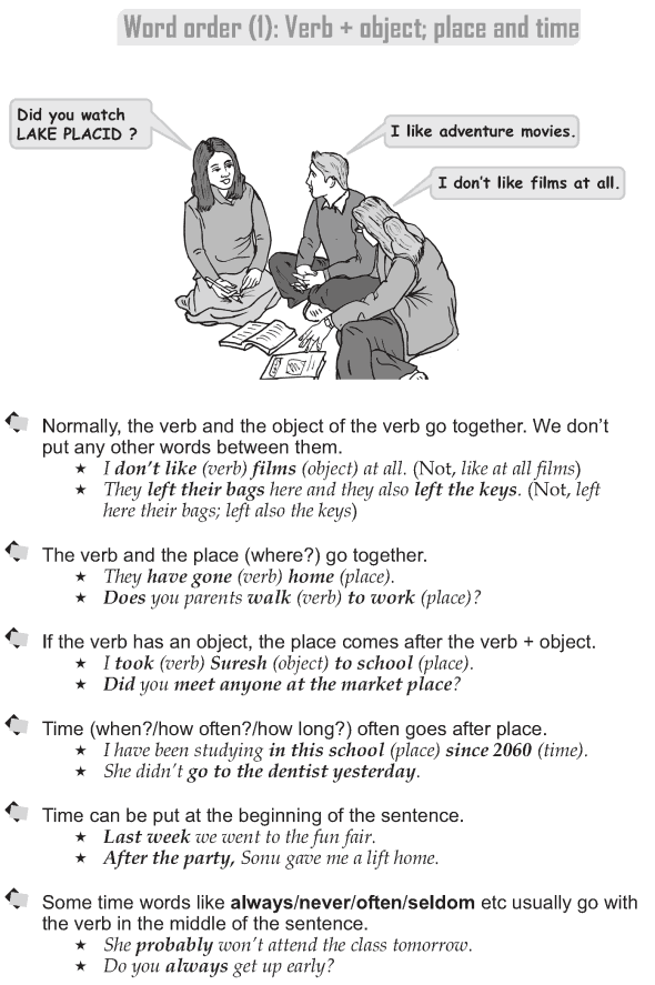 Grade 9 Grammar Lesson 2 Word order (1): Verb + object; place and time