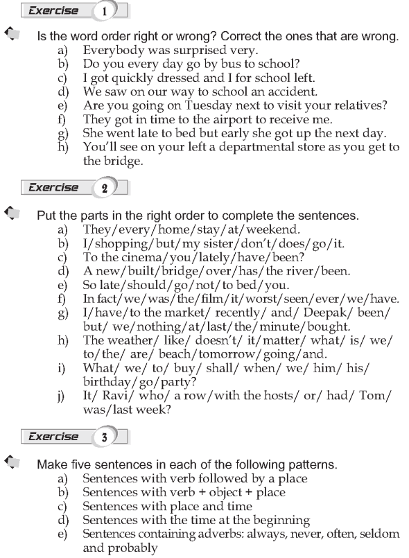 Grade 9 Grammar Lesson 2 Word order (2) Verb + object; place and time