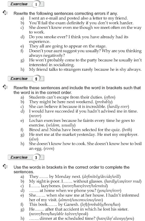 Grade 9 Grammar Lesson 3 Word order (3) Adverbs with the verb