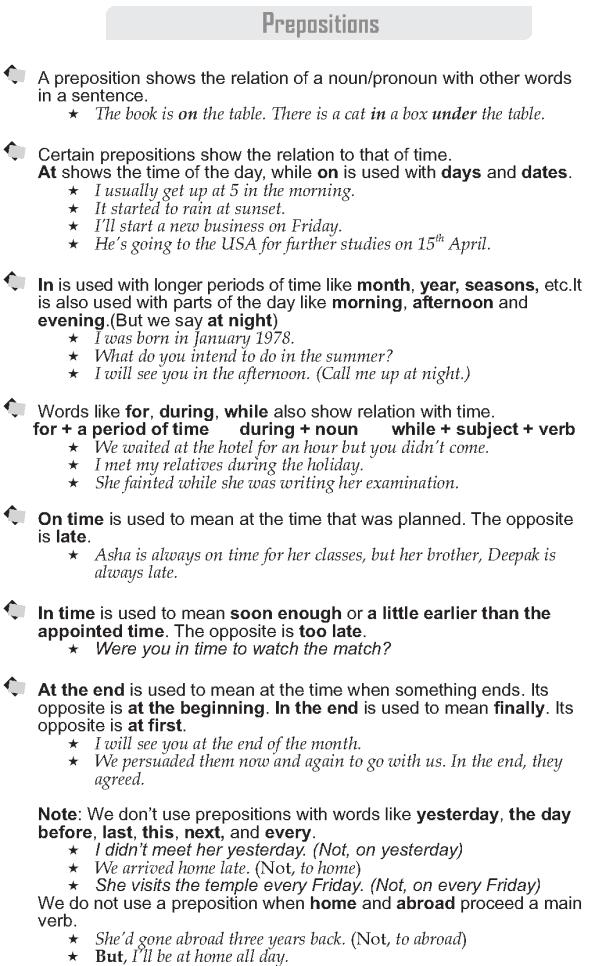 Grade 9 Grammar Lesson 44 Prepositions