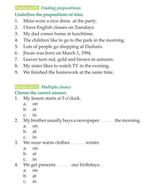 Grammar » 3rd Grade Grammar Prepositions of Time